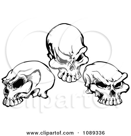Clipart Three Black And White Skulls - Royalty Free Vector Illustration by Chromaco