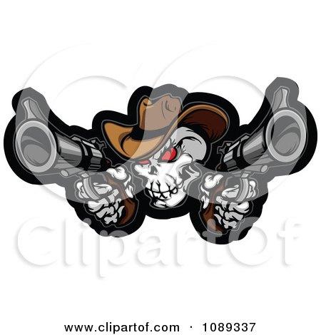 Clipart Demonic Cowboy Skull Shooting Pistols - Royalty Free Vector Illustration by Chromaco