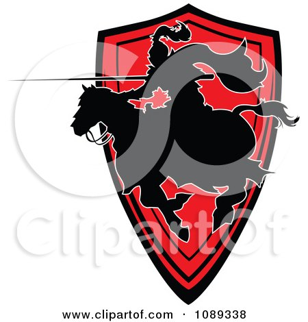 Clipart Silhouetted Knight Pointing His Lance Over A Red Shield - Royalty Free Vector Illustration by Chromaco