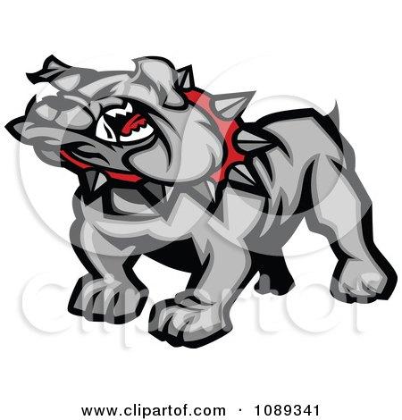 Clipart Gray Bulldog Mascot - Royalty Free Vector Illustration by Chromaco