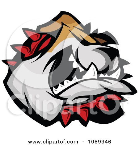 Clipart Bulldog Mascot Face Attacking - Royalty Free Vector Illustration by Chromaco
