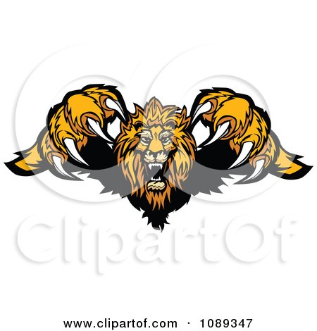 Clipart Attacking Lion Jumping Forward With Sharp Claws - Royalty Free Vector Illustration by Chromaco