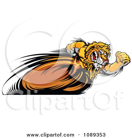 Clipart Fast Lion Mascot Running Upright - Royalty Free Vector Illustration by Chromaco