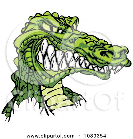 Clipart Aggressive Alligator Mascot Face - Royalty Free Vector Illustration by Chromaco