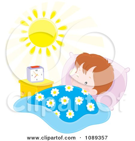 Clipart Boy Waking In The Morning - Royalty Free Vector Illustration by Alex Bannykh