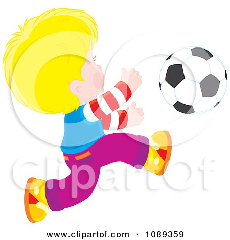 Clipart Blond Boy Chasing A Soccer Ball - Royalty Free Vector Illustration by Alex Bannykh