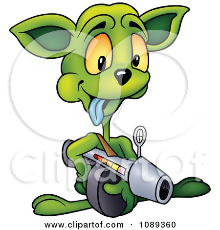 Clipart Alien Aiming A Weapon - Royalty Free Vector Illustration by dero