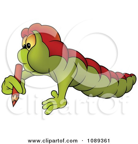 Clipart Worm Using A Colored Pencil - Royalty Free Vector Illustration by dero