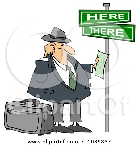 Clipart Lost Tourist Man Holding Directions Under Street Signs - Royalty Free Illustration  by djart