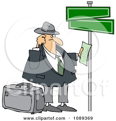 Clipart Lost Man Holding Directions Under Street Signs - Royalty Free Vector Illustration by djart