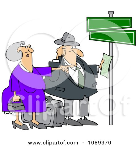 Clipart Lost Couple Holding Directions Under Street Signs - Royalty Free Vector Illustration by djart