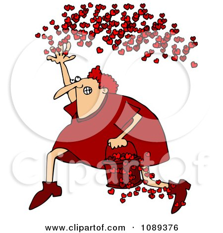 Clipart Cupid Running With A Bucket Of Hearts And Tossing Them In The Air - Royalty Free Vector Illustration by djart