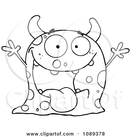 Clipart Excited Outlined Speckled Monster Holding Up Its Arms - Royalty Free Vector Illustration by Hit Toon