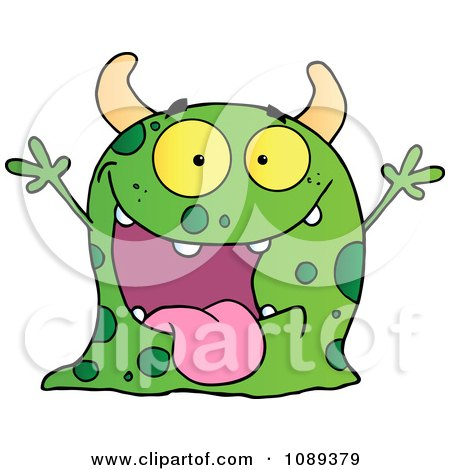Clipart Excited Green Speckled Monster Holding Up Its Arms - Royalty Free Vector Illustration by Hit Toon