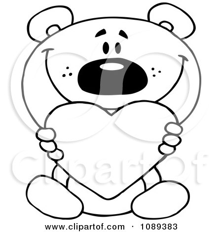Clipart Outlined Teddy Bear Holding A Valentine Heart - Royalty Free Vector Illustration by Hit Toon