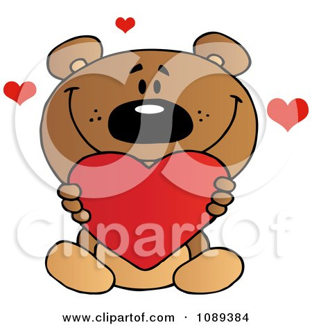 Clipart Valentine Teddy Bear Holding A Heart - Royalty Free Vector Illustration by Hit Toon
