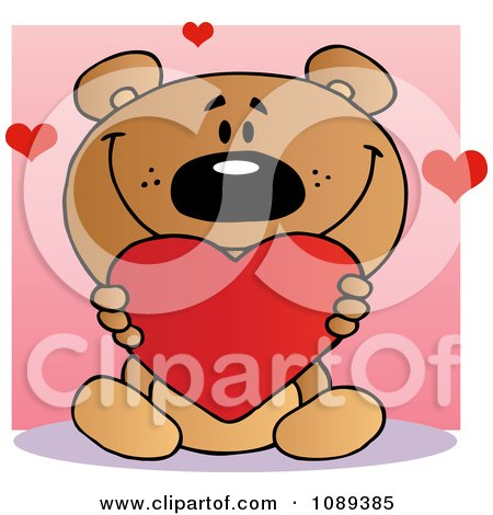 Teddy bear holding a valentine heart over a pink square