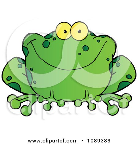 Clipart Speckled Green Frog Smiling - Royalty Free Vector Illustration by Hit Toon