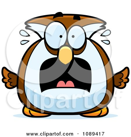 Clipart Chubby Scared Owl - Royalty Free Vector Illustration by Cory Thoman