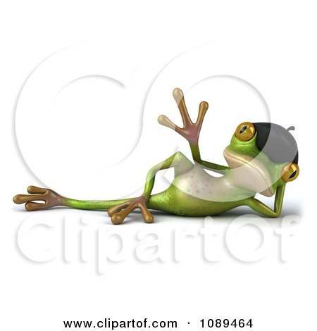 Clipart 3d Relaxed French Springer Frog Waving - Royalty Free Vector Illustration by Julos
