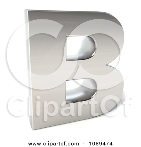 Clipart Capital Stainless Steel Letter B - Royalty Free CGI Illustration by Julos