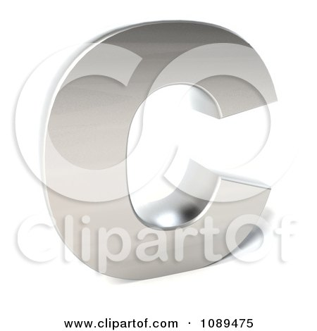 Clipart Capital Stainless Steel Letter C - Royalty Free CGI Illustration by Julos