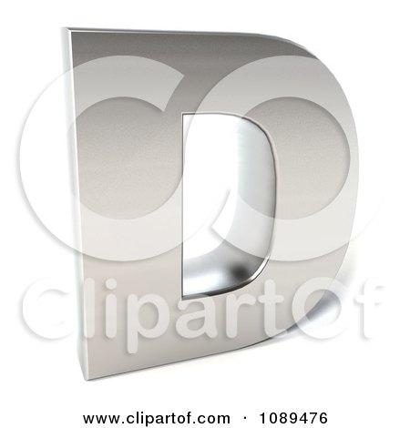 Clipart Capital Stainless Steel Letter D - Royalty Free CGI Illustration by Julos