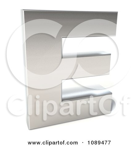 Clipart Capital Stainless Steel Letter E - Royalty Free CGI Illustration by Julos