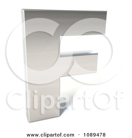 Clipart Capital Stainless Steel Letter F - Royalty Free CGI Illustration by Julos