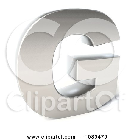 Clipart Capital Stainless Steel Letter G - Royalty Free CGI Illustration by Julos