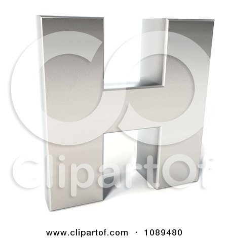Clipart Capital Stainless Steel Letter H - Royalty Free CGI Illustration by Julos