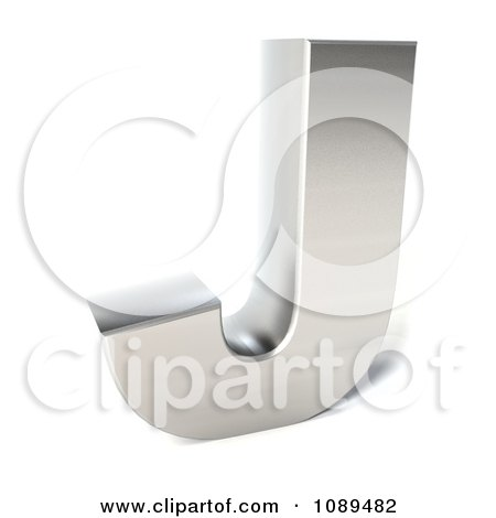 Clipart Capital Stainless Steel Letter J - Royalty Free CGI Illustration by Julos