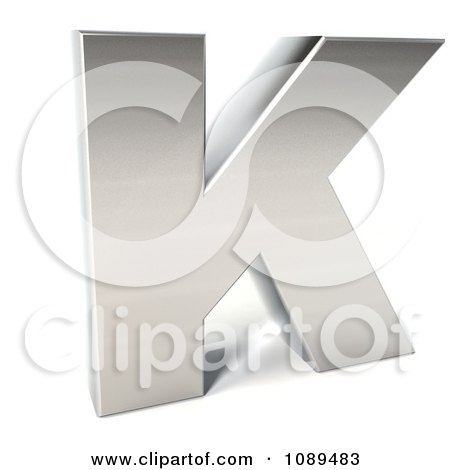 Clipart Capital Stainless Steel Letter K - Royalty Free CGI Illustration by Julos