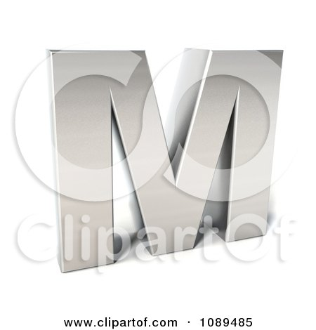 Clipart Capital Stainless Steel Letter M - Royalty Free CGI Illustration by Julos