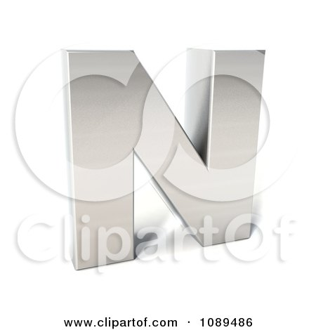 Clipart Capital Stainless Steel Letter N - Royalty Free CGI Illustration by Julos
