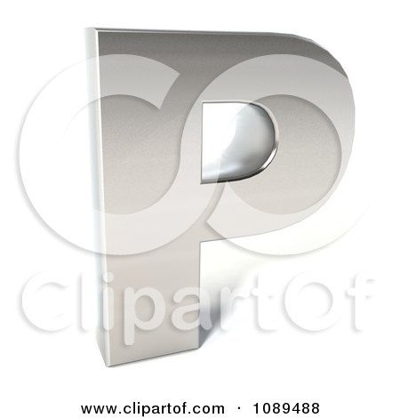 Clipart Capital Stainless Steel Letter P - Royalty Free CGI Illustration by Julos