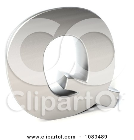 Clipart Capital Stainless Steel Letter Q - Royalty Free CGI Illustration by Julos