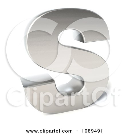 Clipart Capital Stainless Steel Letter S - Royalty Free CGI Illustration by Julos
