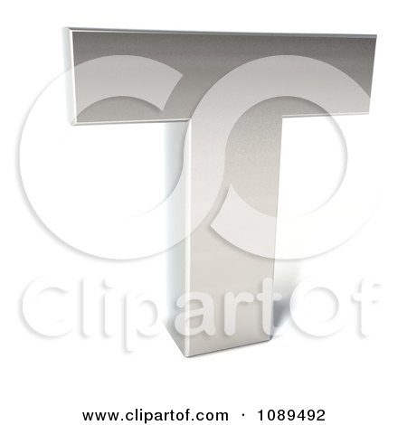 Clipart Capital Stainless Steel Letter T - Royalty Free CGI Illustration by Julos