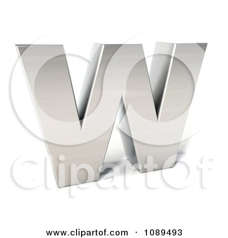 Clipart Capital Stainless Steel Letter W - Royalty Free CGI Illustration by Julos