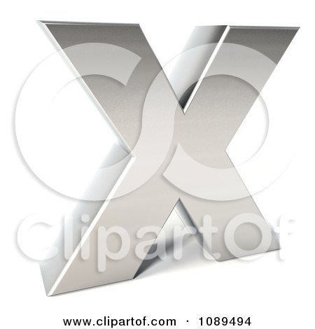 Clipart Capital Stainless Steel Letter x - Royalty Free CGI Illustration by Julos