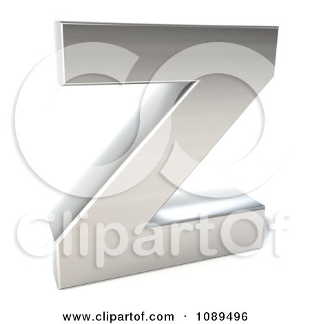Clipart Capital Stainless Steel Letter Z - Royalty Free CGI Illustration by Julos