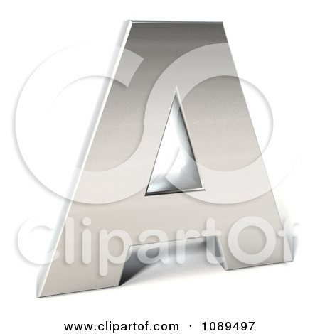 Clipart Capital Stainless Steel Letter A - Royalty Free CGI Illustration by Julos