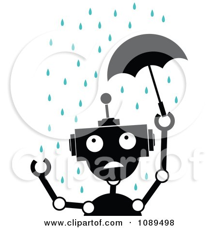 Clipart Black And White Robot With A Tiny Umbrella In The Rain - Royalty Free Vector Illustration by mheld