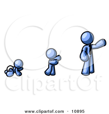 a Blue Person in His Growth Stages of Life, as a Baby, Child and Adult Clipart Illustration by Leo Blanchette