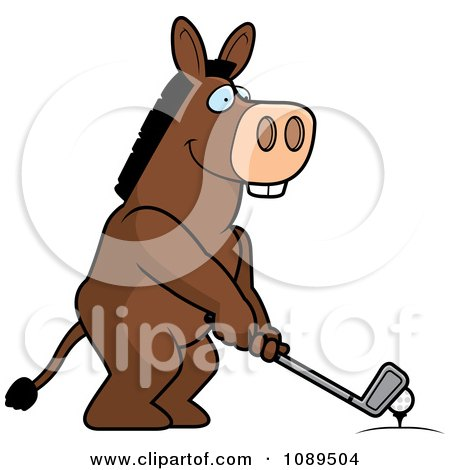 Clipart Golfing Donkey Holding The Club Against The Ball On The Tee - Royalty Free Vector Illustration by Cory Thoman