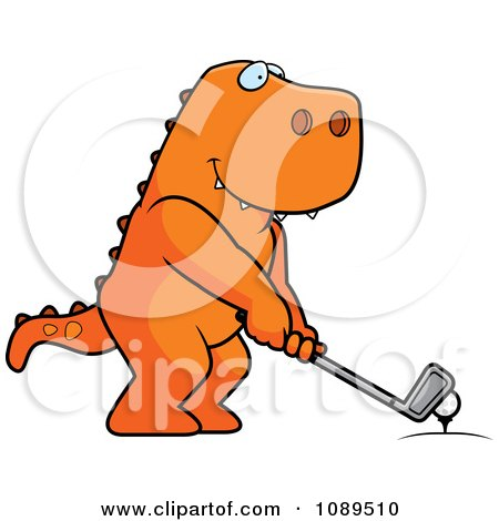 Clipart Golfing T Rex Holding The Club Against The Ball On The Tee - Royalty Free Vector Illustration by Cory Thoman