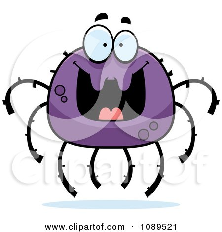 Clipart Grinning Purple Spider - Royalty Free Vector Illustration by Cory Thoman