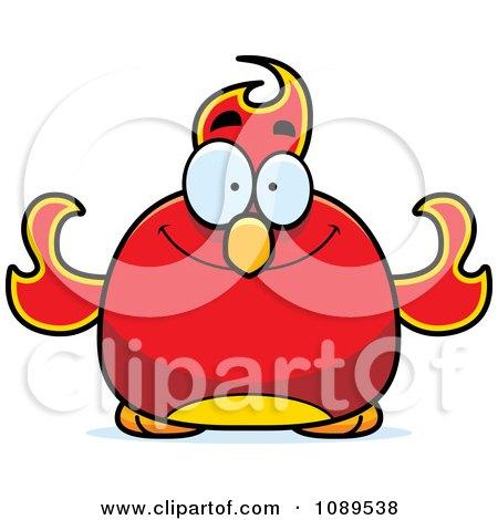 Clipart Chubby Happy Phoenix Fire Bird - Royalty Free Vector Illustration by Cory Thoman