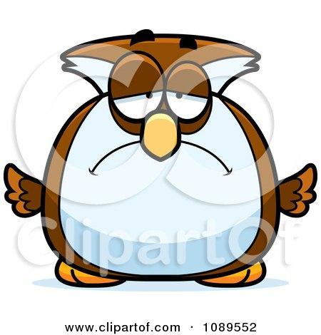 Clipart Chubby Sad Owl - Royalty Free Vector Illustration by Cory Thoman